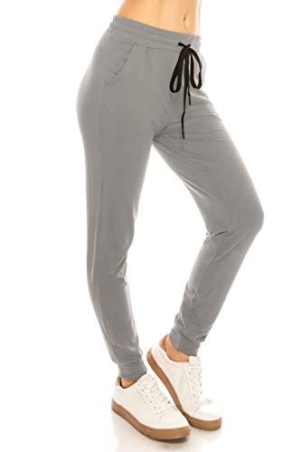 ALWAYS Women Drawstrings Jogger Pants - Lightweight Skinny Solid Basic Soft Stretch Pockets Sweatpants Grey S/M