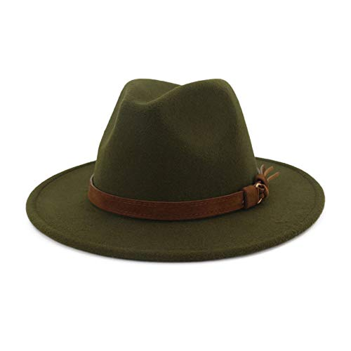 Lisianthus Men & Women Vintage Wide Brim Fedora Hat with Belt Buckle Olive -