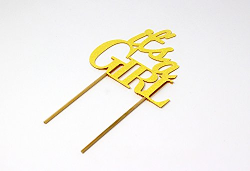 All About Details CATIAGIGPY Girl Cake Topper (Glitter Pastel Yellow), 6in wide and 5in tall with 2-pcs of 4in wood skewers by All About Details (Image #2)