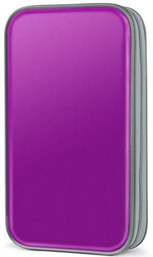 (CD Case,COOFIT 80 Capacity DVD Storage DVD Case VCD Wallets Storage Organizer Flexible Plastic Protective DVD Storage Purple)