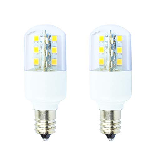 E12 Microwave Oven Refrigerator Light 3W Appliance Bulb 25W Incandescent Light Equivalent Warm White 3000K LED Candelabra Bulbs for Refrigerator Fridge Microwave Oven (2 Pack) ()
