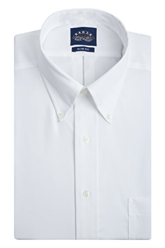 Eagle Men's Non Iron Slim Fit Solid Button Down Collar Dress Shirt, White, 16