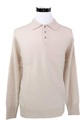 Shephe 4 Ply Men's Polo Cashmere Sweater with 3-Button Ivory Small ()