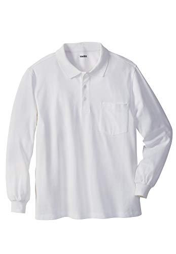 KingSize Men's Big & Tall Long-Sleeve Pique Polo Shirt with Pocket, White 2Xbig ()