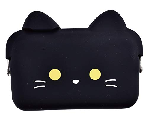 P+G Design Domo Silicone Purse - Black Cat, Cute Pouch for Business Card, Wallet - Authentic Japanese Design - Durable Quality (Card Business Japanese)