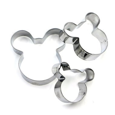 3 PC Disney Mickey / Minnie Mouse Nesting Cookie Cutter Set Cutters from Bakell (Cheap Minnie Mouse Ears)