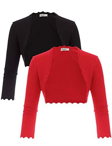 GRACE KARIN 2 Pack 3/4 Sleeve Open Front Bolero Jacket Black Red Size M ZH68-2