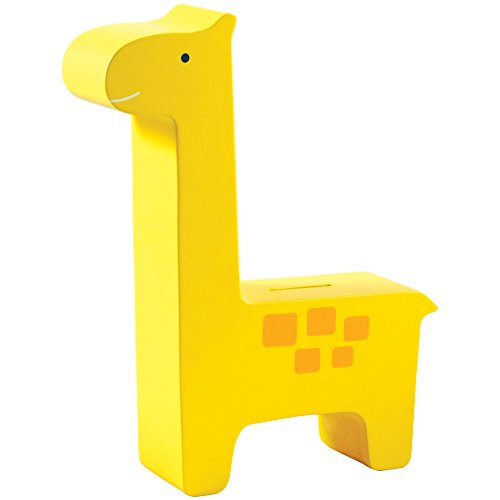 Pearhead Wooden Giraffe Piggy Bank, Yellow