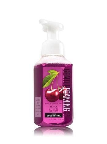 Bath & Body Works Gentle Foaming Hand Soap Coconut Oil Formula Black Cherry Merlot, Kitchen Lemon, Eucalyptus Mint, French Lavender (Pack of 4)