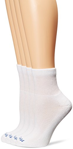 PEDS Women's Diabetic Quarter Socks with Non-Binding Top and Cushion 4 Pairs, White, Shoe Size: 6-10