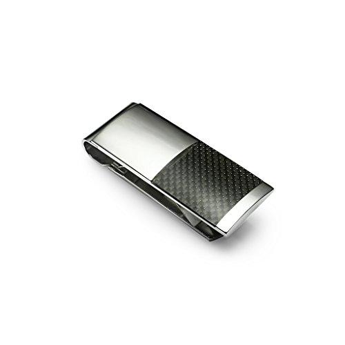 Stainless Steel Money Clip, Silver Tone Black Carbon Fiber Insert Accessory for Men Fiber Insert
