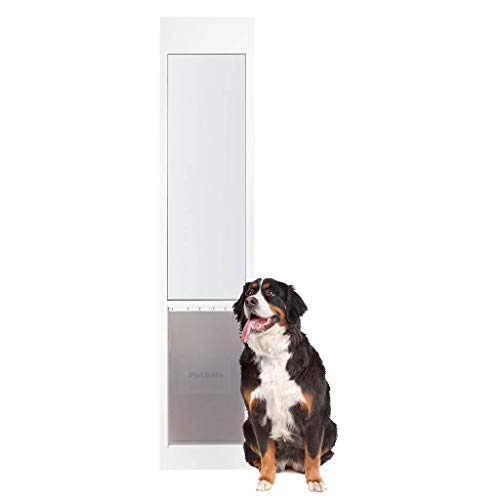 PetSafe Freedom Aluminum Patio Panel Sliding Glass Dog and Cat Door, Adjustable 76 13/16 in to 80 11/16 in - X-Large White Pet Door (Patio Energy Reviews Efficient Doors)