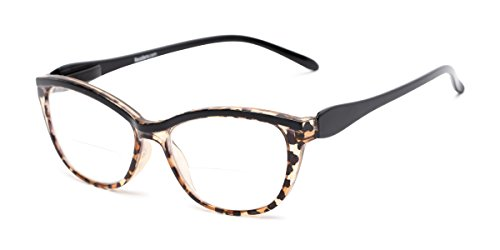 - Readers.com Bifocal Reading Glasses for Women: The Ambrosia Womens Bifocals - Stylish Cat Eye Leopard and Black +2.75