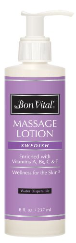 Massage Lotion by Bon Vital, Swedish Massage Lotion for Skin Tone Improvement, Dry Skin Repair, Increased Circulation, and Stress Relief, Great for Massage Therapists Who Perform Swedish and Sports Massages, 8 Oz (Lotions Massage)