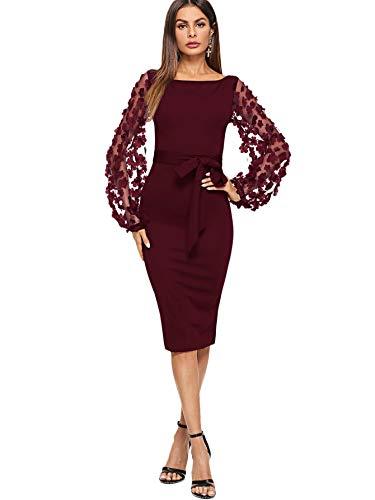 SheIn Women's Elegant Mesh Contrast Bishop Sleeve Bodycon Pencil Dress X-Small Burgundy#2