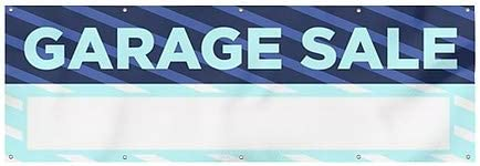 CGSignLab 12x4 Stripes Blue Heavy-Duty Outdoor Vinyl Banner Garage Sale