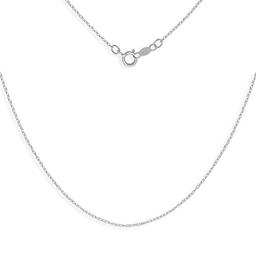 14k Carded Rope Pendant - JewelryWeb 14k Gold Girls 13-inch Carded Rope Chain Necklace (Yellow or White) (White-Gold)