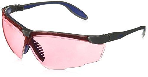 Glasses Vermillion Lens - Uvex S3510X Genesis X2 Safety Eyewear, Silver and Navy Frame, SCT-Vermillion UV Extreme Anti-Fog Lens