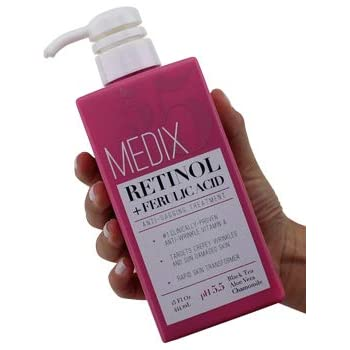 Medix 5.5 Retinol Cream with Ferulic Acid Anti-Sagging Treatment. Targets Crepey Wrinkles and Sun Damaged Skin. Anti-Aging Cream Infused With Black Tea, Aloe Vera, And Chamomile (15oz)