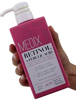 Medix 5.5 Retinol Cream with Ferulic Acid Anti-Sagging Treatment. Targets Crepey Wrinkles and Sun Damaged Skin. Anti-Aging Cream Infused With Black Tea, Aloe Vera, And Chamomile (15oz) (Best Lotion To Improve Skin Elasticity)