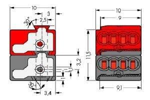 20 AWG 100 V 18 AWG 8 Ways 50 pieces WAGO 243-211 Pluggable Terminal Block 6 A