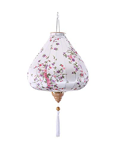Panda Legends Chinese Cloth Lantern Painted White Flowers Creative Home Garden Hanging Decorative Lampshade 16""