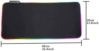 Large RGB Gaming Mouse Pad Mat,Extended Soft Non-Slip Rubber Base with 14 Lighting Modes 2 Brightness Levels,for MacBook, PC, Laptop, Desk 800 x 300mm / 31.5×11.8 inches