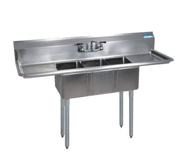 BK Resources Stainless Steel Three Compartment NSF Sink With 12'' Left & Right Drainboards