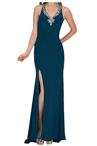Toscana novia de mujer vestidos de Gasa de noche Rueckenfrei ranura al Prom vestidos de bola de largo Tinte Blau