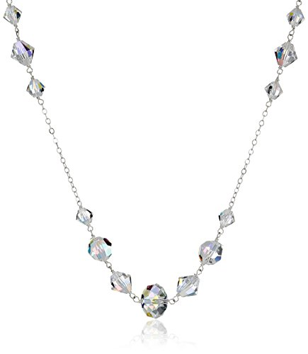 Sterling Silver Swarovski Elements Crystal Aurora Borealis Multi-Bead Chain Necklace, (Swarovski Crystal Long Necklace)