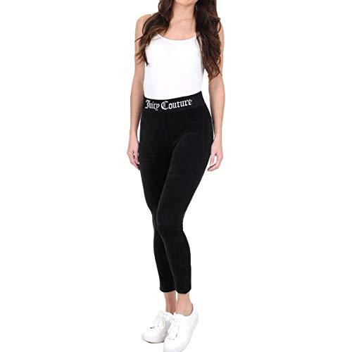 (Juicy Couture Black Label Women's Stretch Velour Legging W/Juicy Logo Waistband, Pitch Black, S)