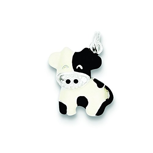 Sterling Silver Cz Brown & White Enameled Polished Cow (Enameled Cow Charm)
