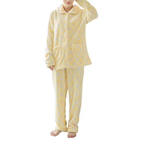- GAMT Autumn Winter Thick Flannel Women Long - sleeved Pajamas Yellow M