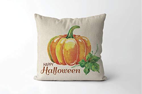 Dozili Rustic Watercolor Pumpkin Pillow Pillow Happy Halloween Pillow Farmhouse Style Halloween Decor Rustic Halloween -