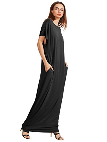 Verdusa Women's Short Sleeve Loose Long Maxi Lounge Dress with Pockets