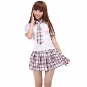 Amazon.com: Check Pink School Girl Mini Skirt Uniform