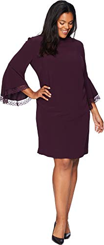Tahari by ASL Women's Plus Size Long Bell Sleeve Crepe/Lace Shift Dress with Mock Neckline Aubergine 16 W ()