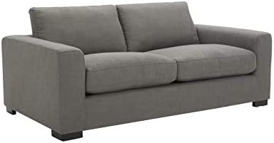 Amazon Brand Stone Beam Westview Extra-Deep Down-Filled Loveseat Sofa Couch, 75.6 W, Smoke