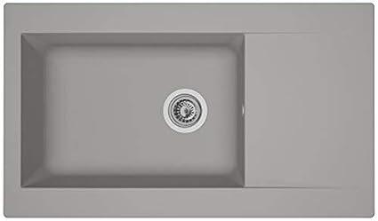 """Respekta Mineralite, lavello cucina da incasso """"Boston"""", 86 x 50 cm,  colore: bianco"""