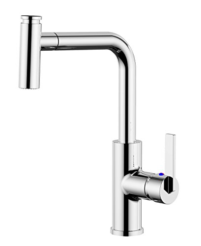 Derengge KF-8205-CP Single Handle Pull-out 1 Hole Kitchen Faucet cUPC NSF AB1953 Lead Free Chrome by Derengge