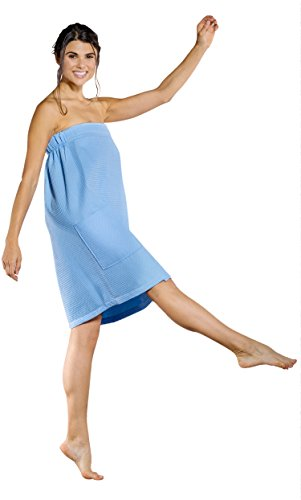 (Turquaz Linen Lightweight Knee Length Spa/Bath Waffle Body Wrap with Adjustable Touch Fastener (XX-Large, Serenity Blue))