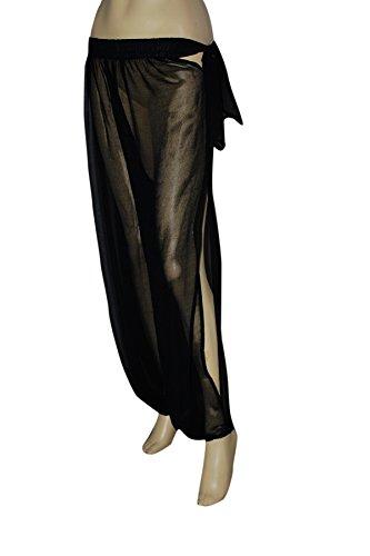 Genie Costume Black Sheer Chiffon Harem/Yoga Pants with Side Slit Halloween (Black Genie Costume)