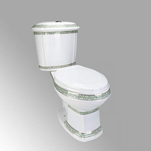 Elongated Toilet Dual Push Button Two-Piece White ADA Porcelain Green And Gold India Reserve Design Includes Elongated Slow Close Toilet Seat Renovators Supply Manufacturing