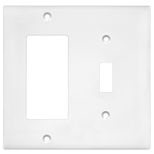 (Enerlites 881131-W Decorator/Toggle Switch Wall Plate Combination, 2-Gang, White, Standard Size, Unbreakable Polycarbonate, Replacement Receptacle Faceplates Outlet Cover)