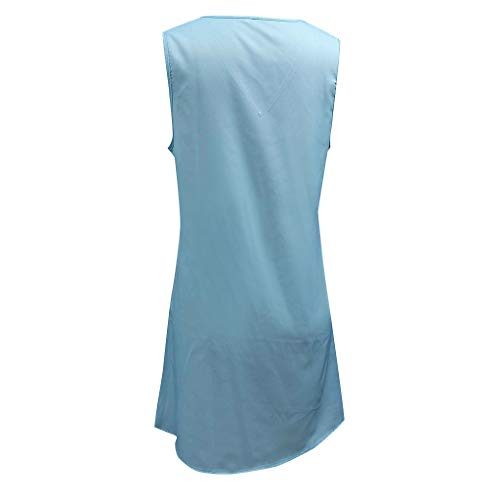 D'été Mesdames Robe Mode Femme Jupes Linkay 2019 Bleu Imprimer Beach Dress Pomisi Vacances Party Lâche Boho w1t0H