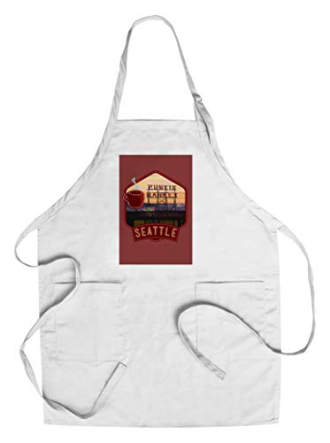 Seattle, Washington - Pike Place Market and Neon Sign - Badge (Cotton/Polyester Chef's Apron) ()