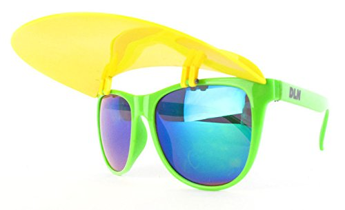 Visor Shades - Green Frame with Yellow - With Sunglasses Visor