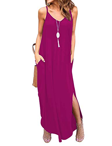 Newchoice Womens Spaghetti Strap Summer Maxi Dresses with Pockets Split Casual Loose Long Beach Dress Flowy Swing Sundresses (Rose Red, M)