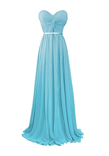 Long Dresses Bridesmaid Gowns Blue Chiffon Women's Evening Anna's Bridal wqfpHH