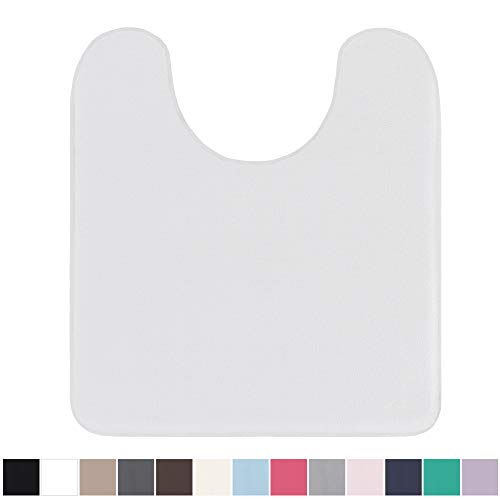 (Gorilla Grip Original Thick Memory Foam Contour Toilet Bath Rug 22.5x19.5 (U Shape) Cushioned, Soft Floor Mats, Absorbent Kids Bathroom Mat Rugs, Machine Wash/Dry, Plush Bath Room Carpet (White))